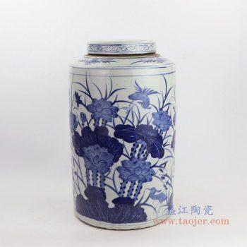 RZKT02-D 景德镇陶瓷 青花荷花带盖茶叶罐