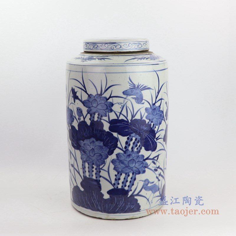 RZKT02-D 盛江陶瓷 青花荷花带盖茶叶罐