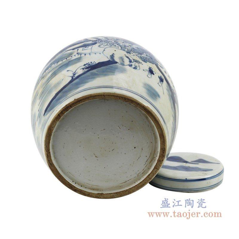 RZKT04-E-盛江陶瓷 仿古手绘青花人物山水茶叶罐
