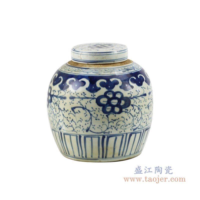 RZKT04-F 盛江陶瓷 仿古手绘青花 缠枝牡丹纹茶叶罐