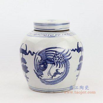RZKT04-G 景德镇陶瓷 高仿清代青花凤纹陶瓷盖罐仿古陶瓷茶叶罐