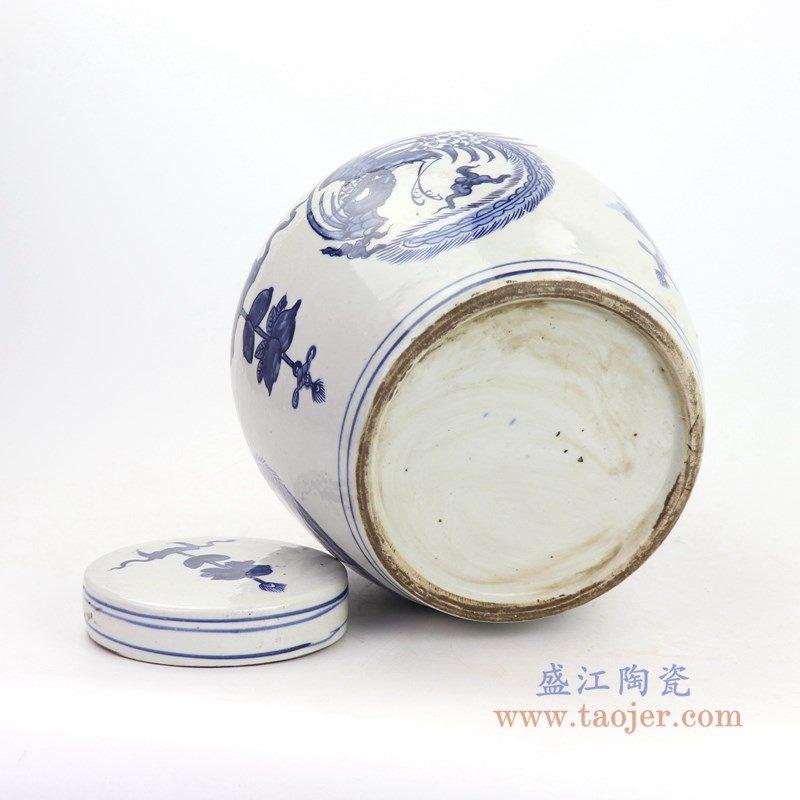 RZKT04-G 盛江陶瓷 高仿清代青花凤纹陶瓷盖罐仿古陶瓷茶叶罐