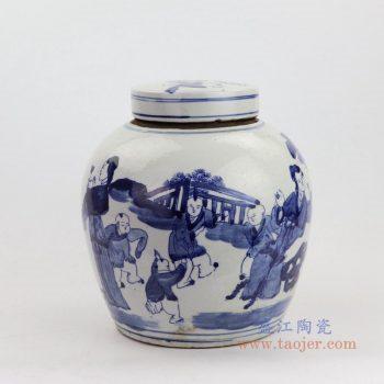 RZKT04-I 景德镇陶瓷 高仿清代青花人物图纹茶叶罐