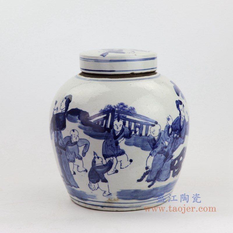 RZKT04-I 盛江陶瓷 高仿清代青花人物图纹茶叶罐