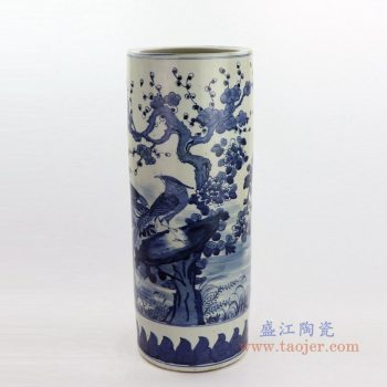 RZKT09-D 景德镇陶瓷 手绘青花花鸟纹大号箭筒