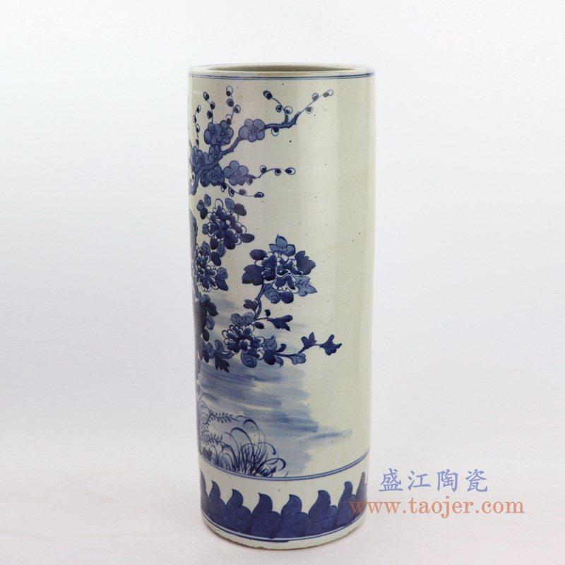 RZKT09-D 盛江陶瓷 手绘青花花鸟纹大号箭筒
