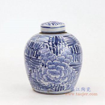RZKT10-E 景德镇陶瓷 手绘青花牡丹花卉盖罐