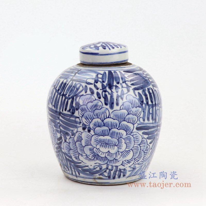 RZKT10-E 盛江陶瓷 手绘青花牡丹花卉盖罐
