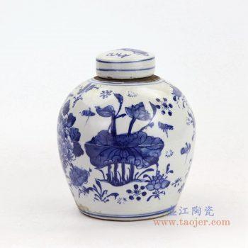 RZKT10-F 景德镇陶瓷 手绘青花牡丹花卉纹盖罐
