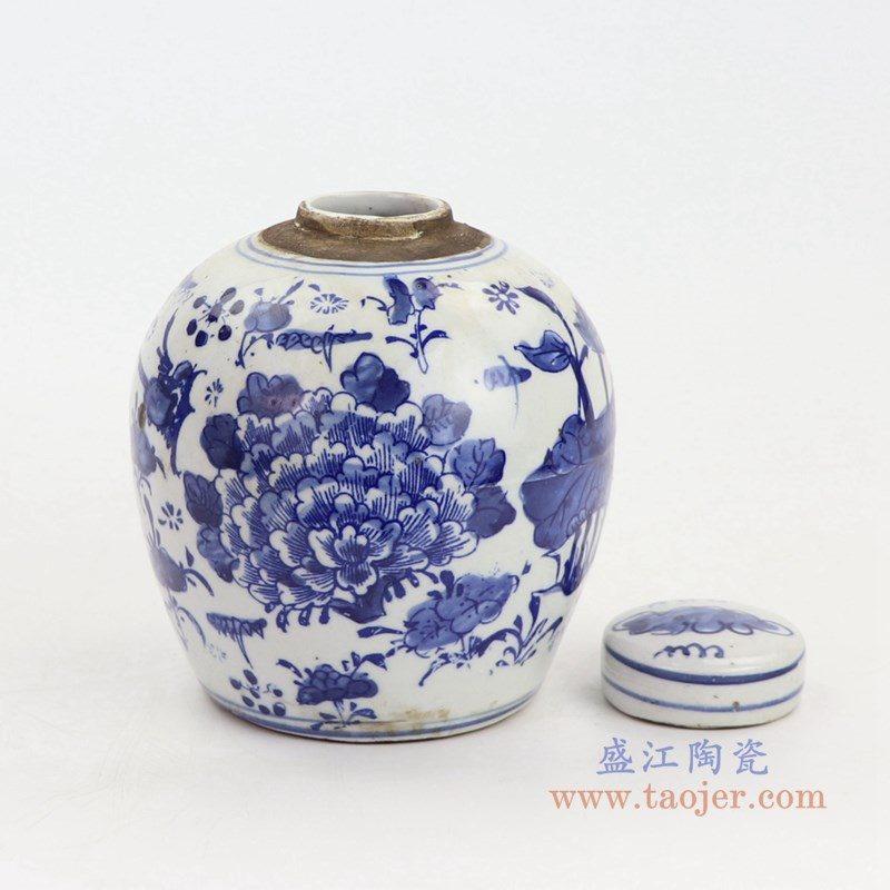 RZKT10-F 盛江陶瓷 手绘青花牡丹花卉纹盖罐