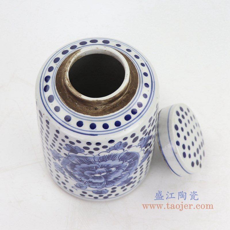 RZKT11-G 盛江陶瓷 仿古做旧青花牡丹纹陶瓷盖罐