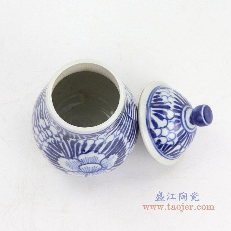 RZKT14 盛江陶瓷 仿明国青花手工绘画茶叶盖罐
