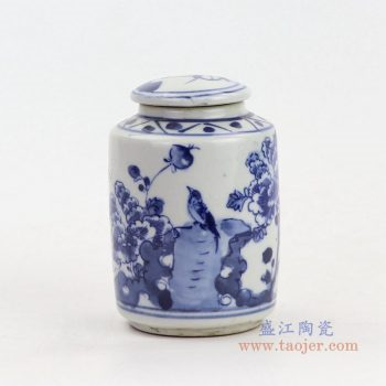 RZKT15 景德镇陶瓷 仿古做旧手绘花鸟盖罐