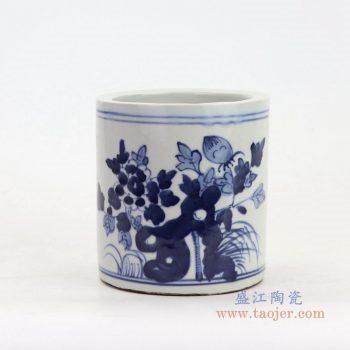 RZKT18-A 景德镇陶瓷 青花花鸟笔筒