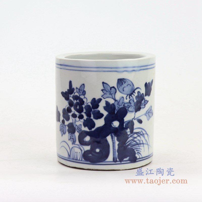 RZKT18-A 盛江陶瓷 青花花鸟笔筒