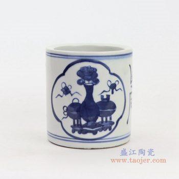 RZKT18-B 景德镇陶瓷 青花花纹笔筒