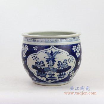 RZKT20 景德镇陶瓷 青花杂宝冰梅狮子饭鼓古董古玩老罐子收藏品