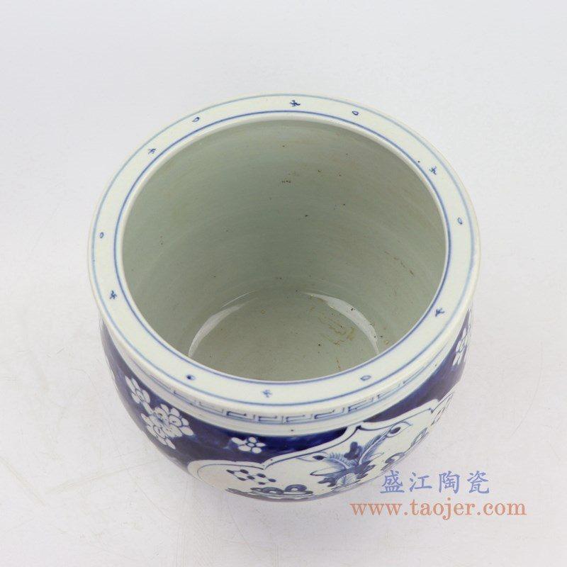 RZKT20 盛江陶瓷 青花杂宝冰梅狮子饭鼓古董古玩老罐子收藏品