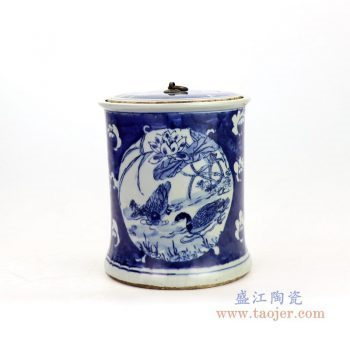 RZKT22 景德镇陶瓷 青花荷花山水茶叶罐