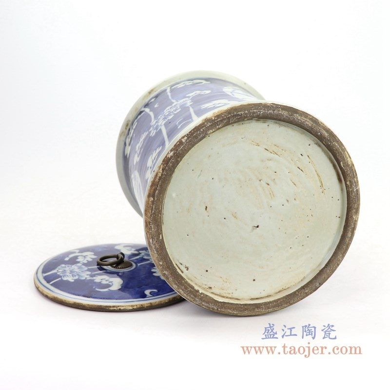 RZKT22 盛江陶瓷 青花荷花山水茶叶罐
