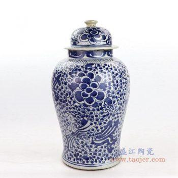 RZKT24-A 景德镇陶瓷 青花瓷器凤穿牡丹纹将军罐茶叶罐
