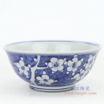 RZKT25-A 景德镇陶瓷  仿古手绘青花冰梅瓷碗