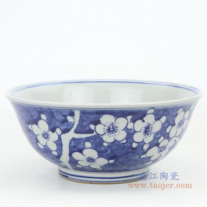 RZKT25-A 盛江陶瓷 仿古手绘青花冰梅瓷碗