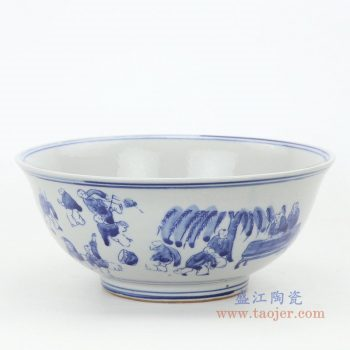 RZKT25-B 景德镇陶瓷 纯手工手绘青花儿童戏耍瓷碗