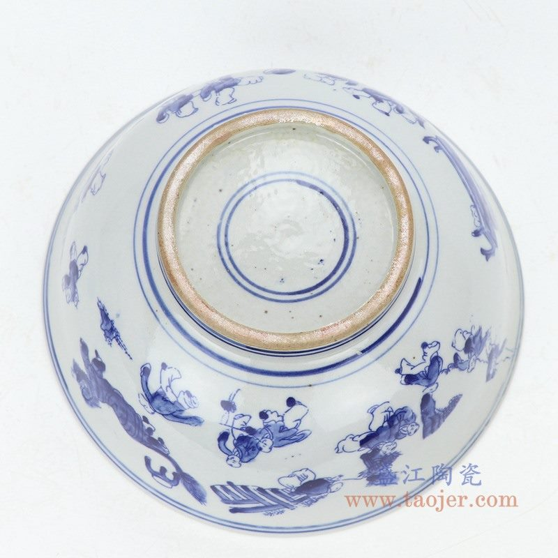 RZKT25-B 盛江陶瓷 纯手工手绘青花儿童戏耍瓷碗