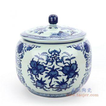 RZLG45 景德镇陶瓷 仿古手绘青花三花三果寿桃五福临门茶叶罐