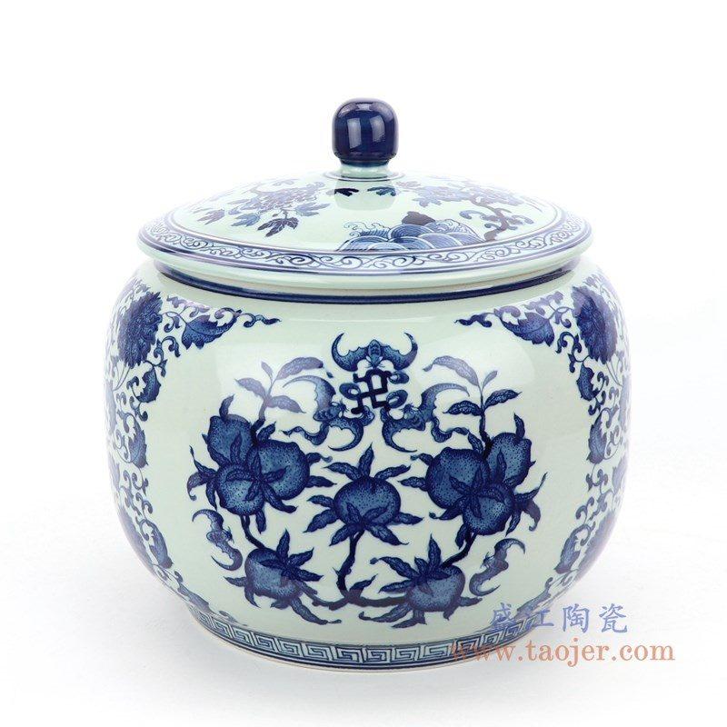 RZLG45 盛江陶瓷 仿古手绘青花三花三果寿桃五福临门茶叶罐