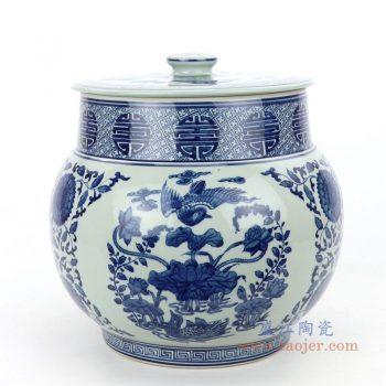 RZLG47 景德镇陶瓷 仿古手绘青花花鸟图纹茶叶罐