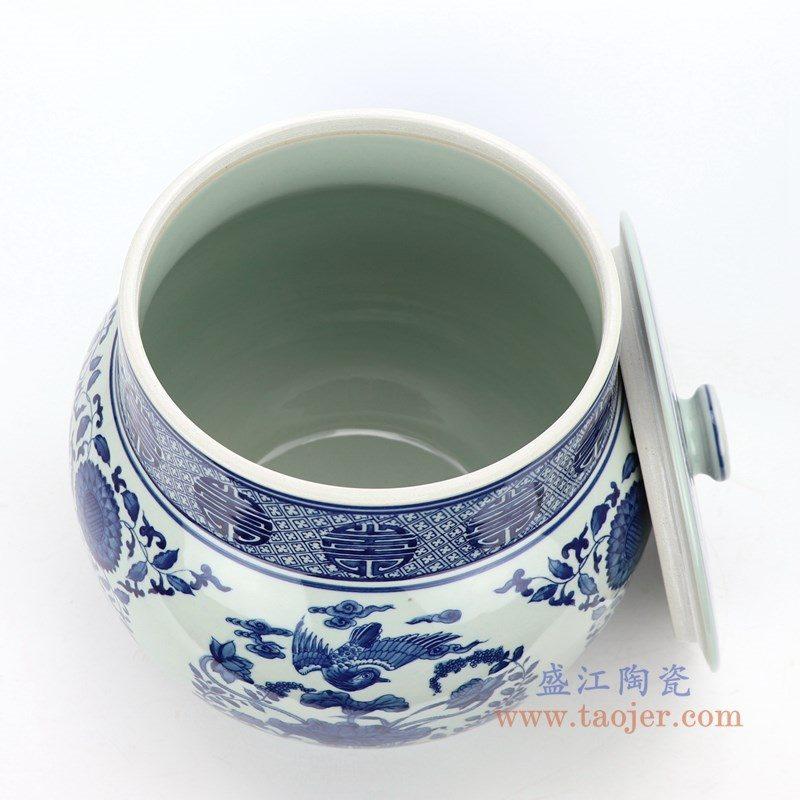 RZLG47 盛江陶瓷 仿古手绘青花花鸟图纹茶叶罐
