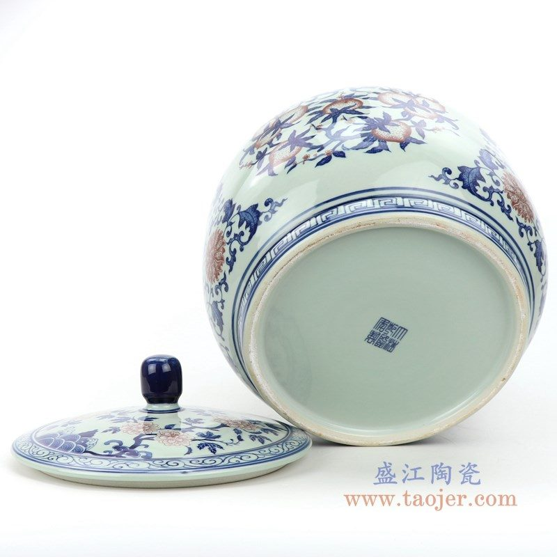 RZLG48 盛江陶瓷 仿古手绘青花釉里红三花三国寿桃五福临门茶叶罐