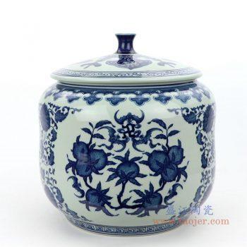 RZLG49 景德镇陶瓷 仿古手绘青花三花三果寿桃五福临门茶叶罐