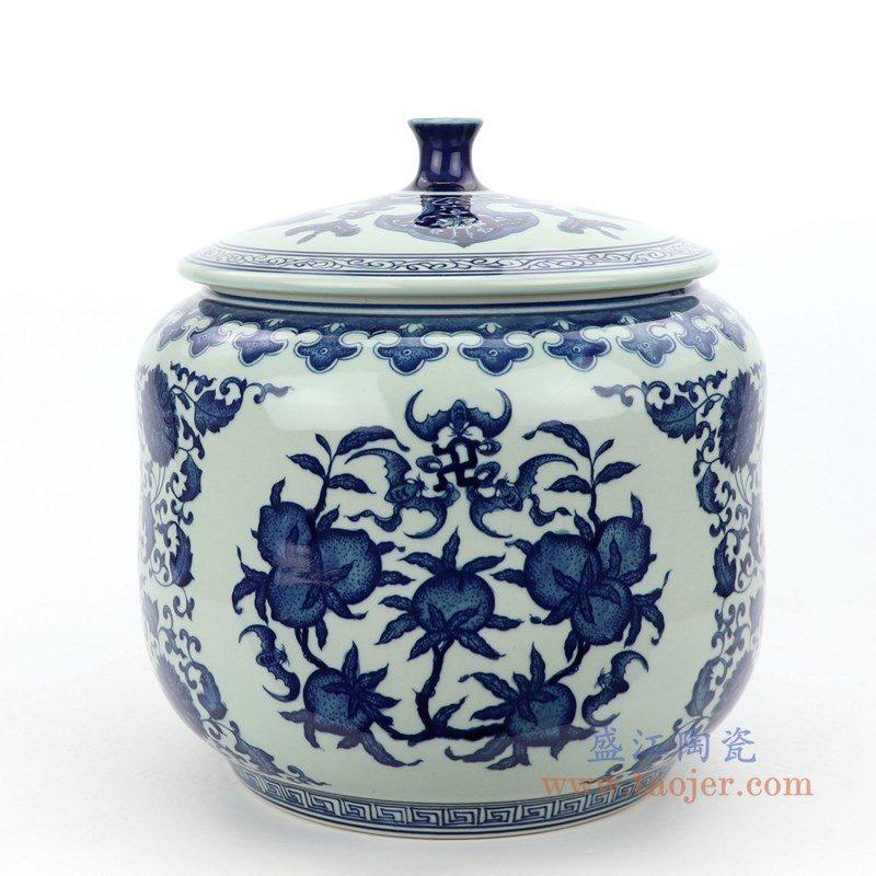 RZLG49 盛江陶瓷 仿古手绘青花三花三果寿桃五福临门茶叶罐