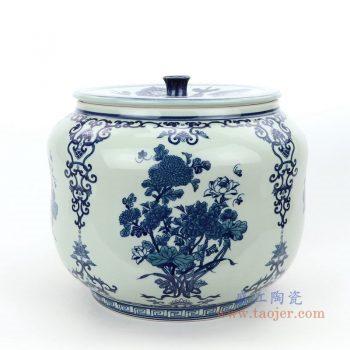 RZLG50 景德镇陶瓷 仿古手绘青花图纹茶叶罐