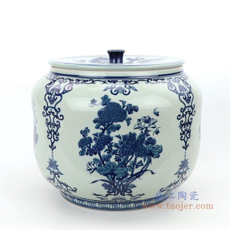 RZLG50 盛江陶瓷 仿古手绘青花图纹茶叶罐