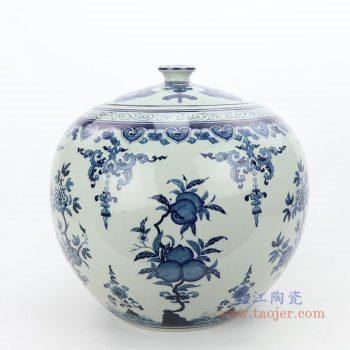 RZLG51 景德镇陶瓷 仿古手绘青花寿桃茶叶罐
