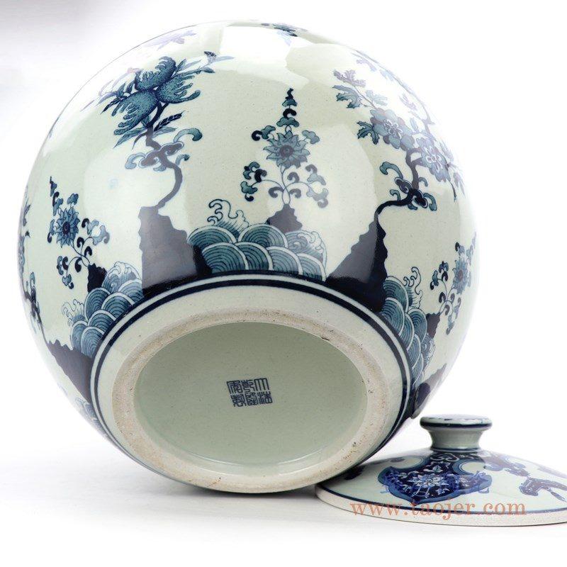 RZLG51 盛江陶瓷 仿古手绘青花寿桃茶叶罐