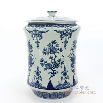 RZLG52 景德镇陶瓷 仿古手绘青花釉里红三花三果寿桃五福临门茶叶罐
