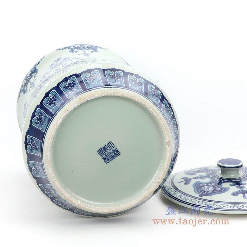 RZLG52 盛江陶瓷 仿古手绘青花釉里红三花三果寿桃五福临门茶叶罐