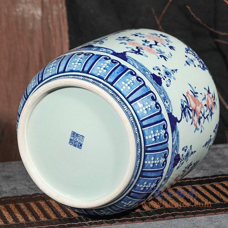 RZLG56 盛江陶瓷 仿古手绘青花釉里红三花三果寿桃五福临门茶叶罐