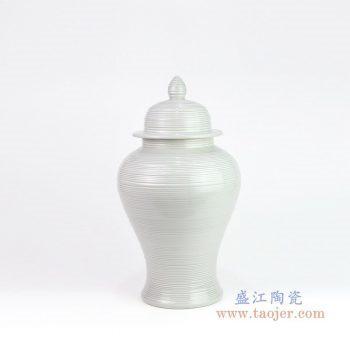 RZMS10 景德镇陶瓷 浅灰色将军罐高温颜色釉储物罐
