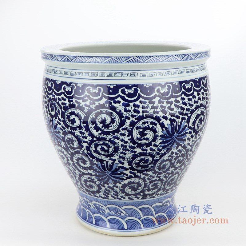 RZMV27-SMALL 盛江陶瓷 仿古手绘青花陶瓷缸睡莲缸