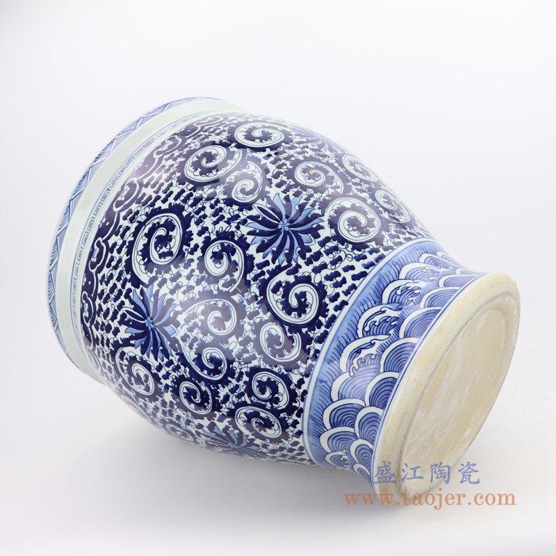 RZMV27-SMALL 景德镇陶瓷 仿古手绘青花陶瓷缸睡莲缸