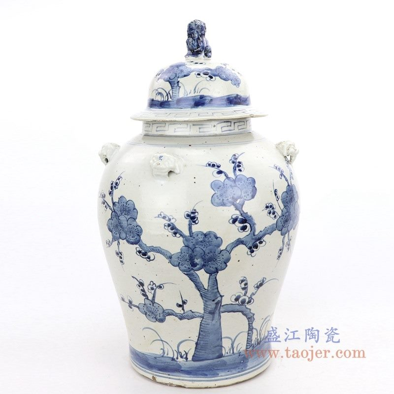 RZMV34-D 盛江陶瓷 仿古做旧手绘青花树木狮子头盖瓷罐储物罐