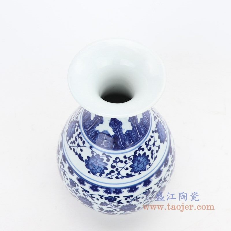 RZMX02 盛江陶瓷 RZMX02 手绘青花缠枝莲插花花瓶