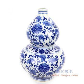 RZNJ05 景德镇陶瓷 青花缠枝莲葫芦瓶梅瓶