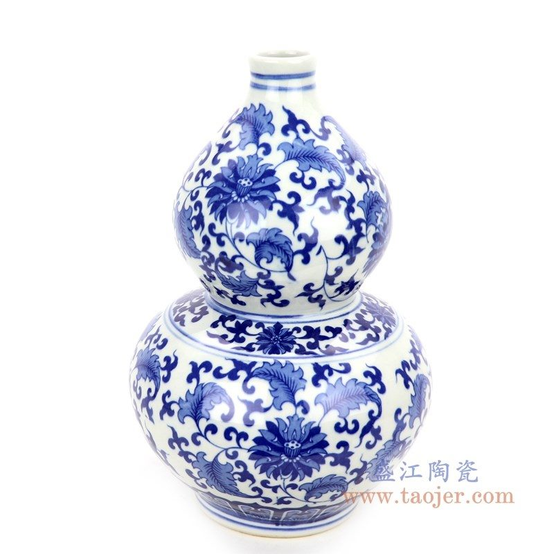 RZNJ05 盛江陶瓷 青花缠枝莲葫芦瓶梅瓶